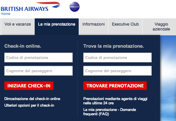 check in online British Airways