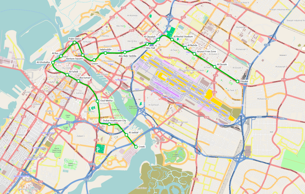 Come spostarsi a Dubai: metropolitana di dubai cartina