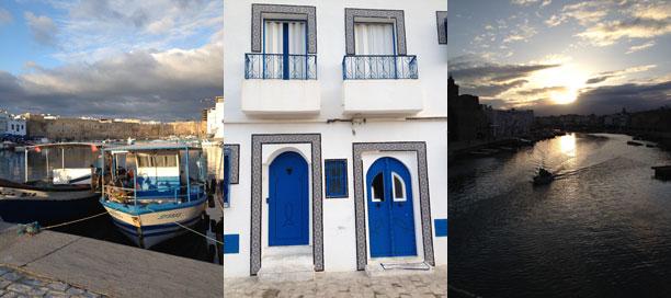 Biserta: il porto, facciata di una casa, il tramonto