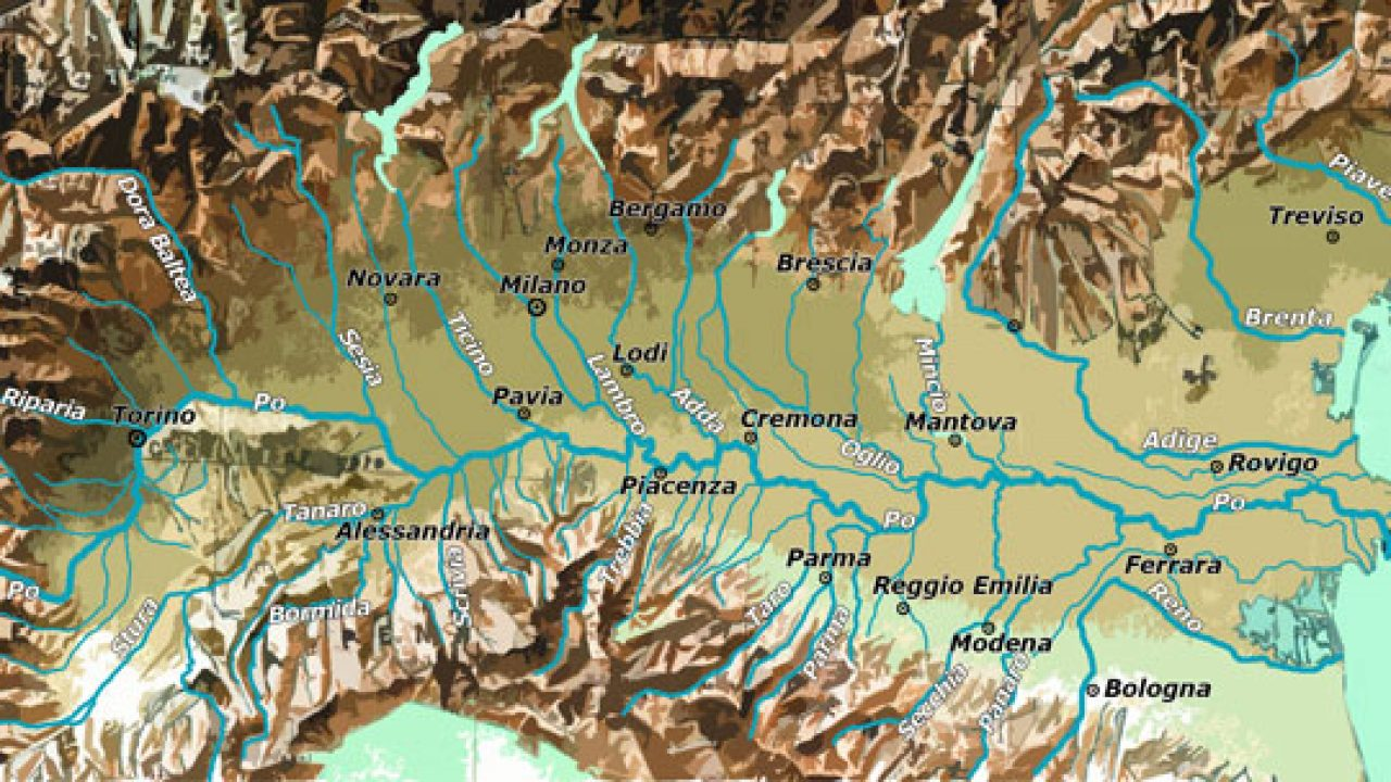 Cartina Fisico Politica Emilia Romagna.Pianura Padana Cartina Fisica E Cartina Politica Viaggi E Vacanze