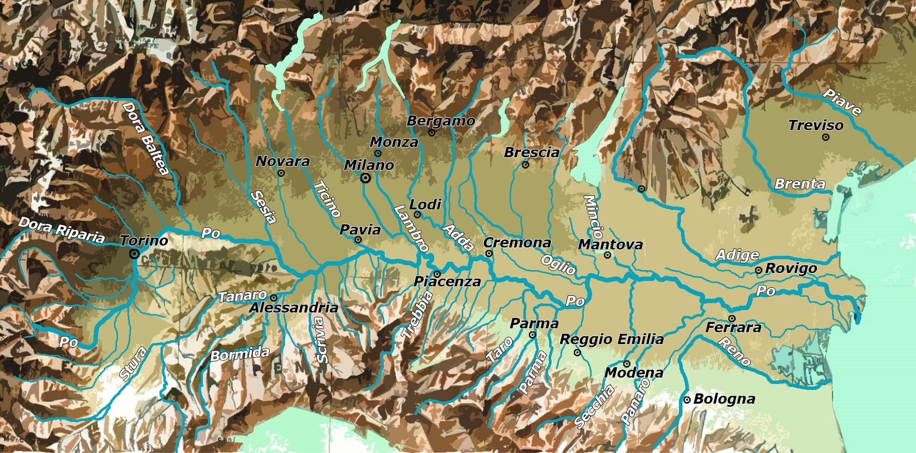 Bologna Cartina Politica.Pianura Padana Cartina Fisica E Cartina Politica Viaggi E Vacanze