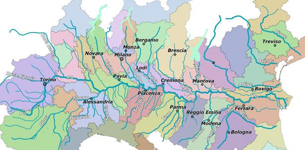 Cartina Politica della Pianura Padana