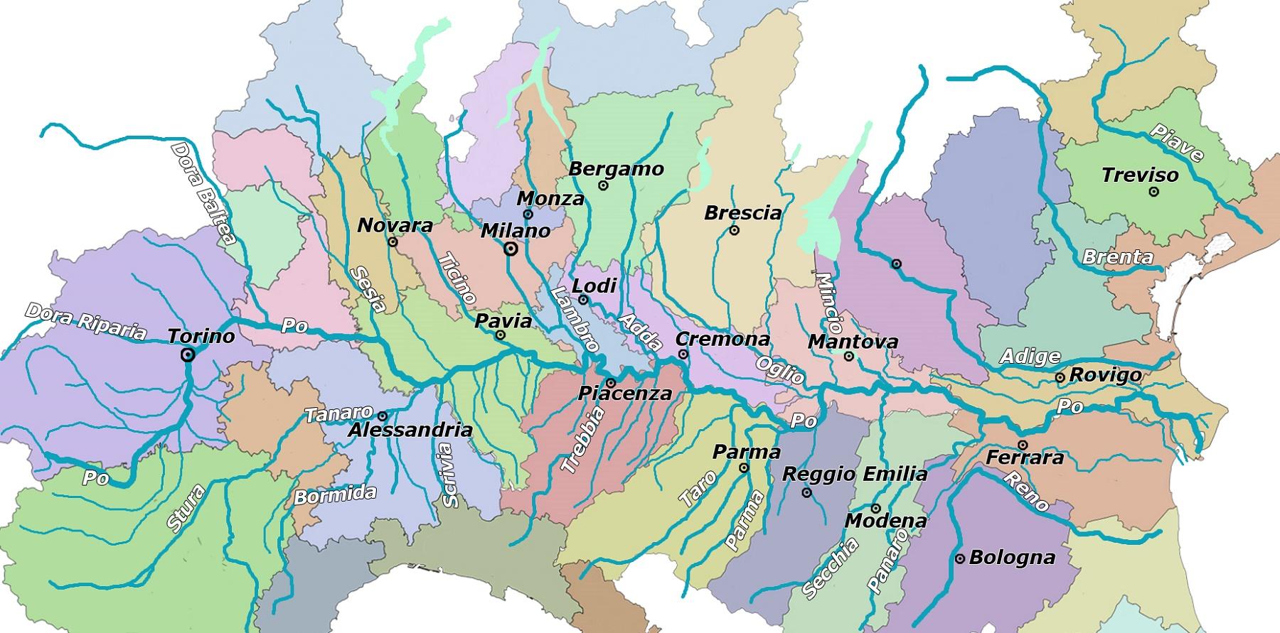 Bergamo Sulla Cartina Geografica.Pianura Padana Cartina Fisica E Cartina Politica Viaggi E Vacanze